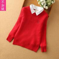 儿童线衣秋冬季针织打底衫圆领套头毛衣可拆卸衬衫领女孩