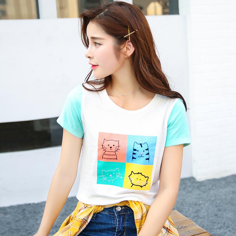 夏季新品韩版宽松百搭圆领拼色刺绣动物图案短袖T恤女装上衣
