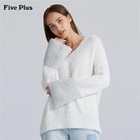 Five Plus女装慵懒毛衣女宽松V领套头衫微喇叭袖长袖纯色百搭