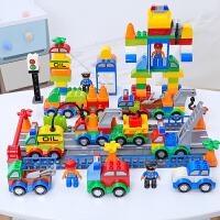 警察积木玩具益智拼装汽车2女孩男孩子3-6周岁