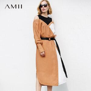 【大牌清仓 5折起】Amii极简气质女神时尚撞色拼接条纹露肩连衣裙2018新款女春装裙子