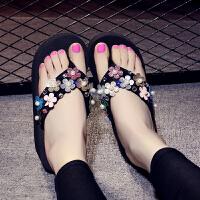 波西米亚拖鞋女夏外穿人字拖防滑海边沙滩鞋坡跟厚底女夹脚凉拖鞋