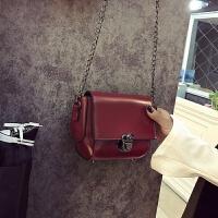 七夕礼物2018年新款时尚小方包水饺型金属扣女士纯色小包日式风范简约女包 红色