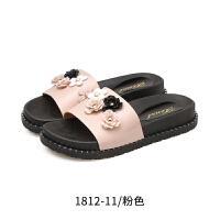 户外女时尚一字拖平底粗跟外出沙滩鞋外穿厚底海边凉拖鞋夏季鞋子