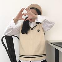 春秋女装韩版英伦风徽章V领套头无袖针织衫宽松百搭学生马甲外套 均码