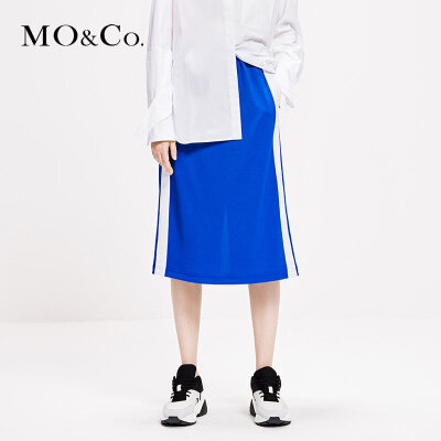 MOCO2019春季新品松紧腰杠条运动风半身裙MAI1SKT025 摩安珂 满399包邮 松紧腰 杠条拼接