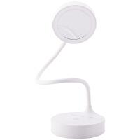 得力4327LED充电台灯白色家用卧室触控台灯 简约个性 学生书桌 阅读照明