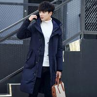 中长款羽绒服男士连帽修身冬季新款加厚羽绒外套青年韩版潮流 深蓝色 M