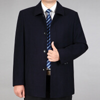 爸爸装秋冬毛呢外套中老年男士翻领扣子款40-50岁夹克上衣父装 深蓝72 0/M