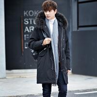反季清仓冬季加厚羽绒服男士韩版潮流中长款保暖大毛领连帽外套男 黑色