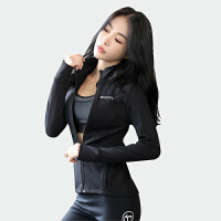 韩国瑜伽服拉链外套女开衫运动健身上衣春秋瑜伽长袖紧身健身服女 黑色 单外套