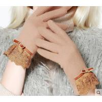 时尚拼接蕾丝蝴蝶结学生骑行手套羊毛手套女加绒厚保暖韩版