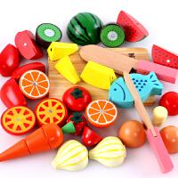 切切乐切切看切菜过家家厨房切水果玩具 儿童木制磁性蔬菜