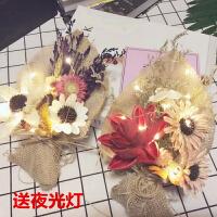 干花情人节礼物送男友生日礼品女生带灯礼盒少女心乾花花束