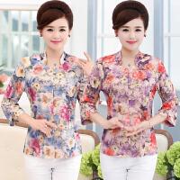 中老年女装夏装五分袖t恤女上衣中国风唐装妈妈装印花七分袖衬衫