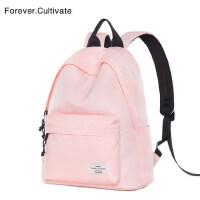 Forever cultivate新款ins超火的双肩包女纯色书包初中学生背包男
