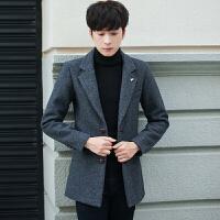 毛呢大衣男装韩版潮流秋冬季纯色外套男士修身中长款呢子休闲风衣