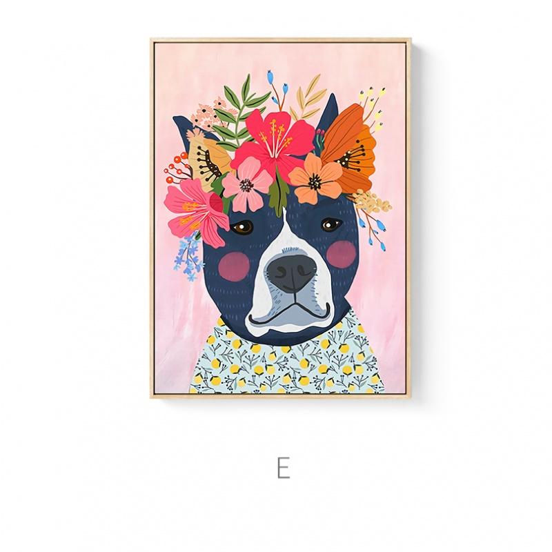 猫狗ins风原创花动物水彩手绘图案现代客餐厅儿童房装饰画