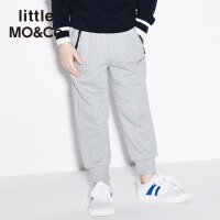 littlemoco春季新品儿童裤子刺绣slogan运动风休闲纯棉长裤