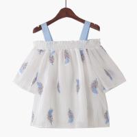 2018夏季新复古刺绣吊带金线短袖雪纺衫娃娃衫一字领露肩条纹甜美