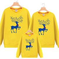 新款一家三口全家装母女子装麋鹿 亲子装秋冬装卫衣