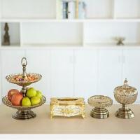 美式双层水晶玻璃果盘大号婚庆用品欧式样板房摆设现代创意干果盘