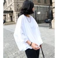 韩观夏季新款女装韩版宽松短款泡泡袖娃娃衫女上衣时尚百搭学生白衬衫 白色 均码
