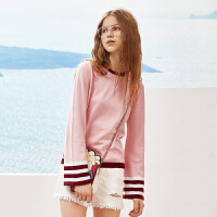 A21春装新品女装毛衣 休闲圆领宽松长袖衫甜美粉色女生毛针织衫