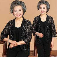 中老年女装夏装蕾丝短外套薄款中袖披肩宽松妈妈装开衫奶奶防晒衣