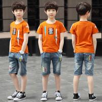 童装男童夏装短袖套装2018新款男孩牛仔短裤两件套中大童T恤套装