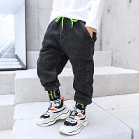 男童牛仔裤秋冬装儿童小脚裤男孩加绒长裤