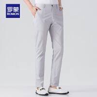 罗蒙男士休闲裤2021春季新款潮流韩版亚麻长裤子休闲修身百搭裤男