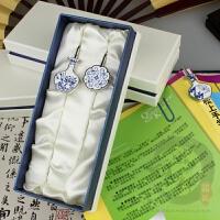 中国色青花瓷书签出国展会送老外礼品企业定制LOGO 留学生礼品
