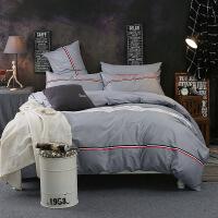 家纺简约床上用品纯棉被罩床单学生四件套 全棉1.5米枕套四件套 1.5/1.8米床:被套200*230 床单245