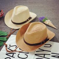 男童草帽西部牛仔帽沙滩帽宝宝太阳帽儿童遮阳帽度假可折叠礼帽潮