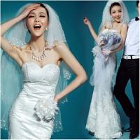 婚纱礼服 抹胸时尚礼服演出服 新娘结婚敬酒服晚礼服鱼尾长款礼服