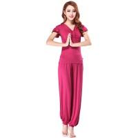 瑜伽服套装短袖上衣裤 子女士练功运动健身广场舞服装瑜伽服
