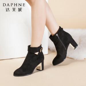 达芙妮正品女鞋秋冬季时尚舒适短靴高跟鞋粗跟皮带扣侧拉链女靴子