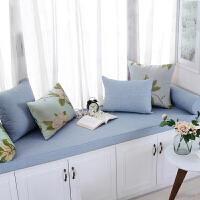 环保海绵飘窗垫窗台垫订做实木沙发垫榻榻米卡座窗帘美式咖啡蓝色 面料/米