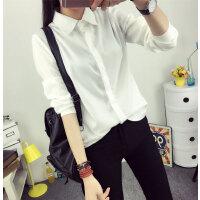 韩观加绒加厚衬衫女秋冬季新款学生保暖长袖上衣韩版打底衬衣外套 白色衬衫 薄款