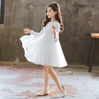 女童长袖连衣裙白色蕾丝裙中大童蓬蓬纱公主裙