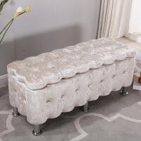 实木收纳凳储物凳服装店沙发试换鞋凳欧式布艺长方形可坐凳子鞋柜