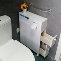 卫生间收纳柜厕所移动抽纸柜浴室储物柜缝隙窄柜落地马桶边柜 乳白色 B款纯白色 1个