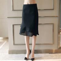 纯色长裤褶皱拼接薄款不规则下摆半身裙2018年春季中裙中腰 黑色