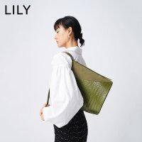 【5.16-5.17抢购价:186】LILY夏新款女装肌理拼接设计大容量水桶包单肩包120210BZ409