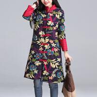 民族风复古女装冬季新款宽松大码印花中长款棉袄女士唐装棉衣外套