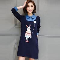 新款连衣裙秋装假两件印花中长款大码女装宽松秋冬加绒长袖打底衫 蓝色 常规款不加绒 X