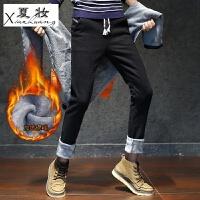 夏妆男士加绒休闲裤男修身男装加厚保暖裤松紧腰绳加棉裤子男小直筒裤 28 2.1尺