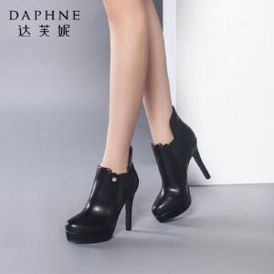 达芙妮正品女靴秋冬季时尚防水台女鞋性感细高跟靴子松紧踝靴短靴