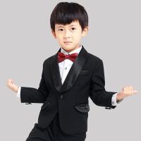 小西装男童西服礼服 儿童西装男套装韩版秋装 D105黑色青果西装+西裤+白衬衣+领结+腰封